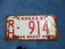VINTAGE ORIGINAL KANSAS 1957 RH 914 License VEHICLE Tag Man Cave Reissue.