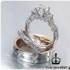 14K White Gold Finish Round Diamond His Her Engagement Trio Wedding Ring Sets