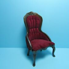 Dollhouse Miniature Wood Victorian Red Velour Ladies Chair in Walnut CLA10969