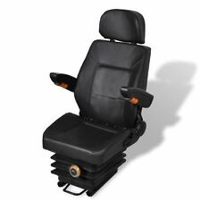 vidaXL 210158 Leather Tractor Seat With Head and Arm Rest, Black