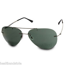 Ray Ban RB8055 004/71 Aviator Light Ray Titanium Gunmetal/Green Sunglasses
