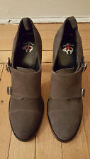 """New: BLACK FLEECE by BROOKS BROTHERS Gray Suede Monk Strap 4"""" Heels, 10M"""