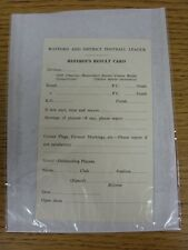 circa 1960's Watford & District Football League: Referee's Result Card - Unused.