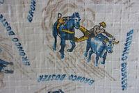 Vintage pair barkcloth cowboy western mid century cotton fabric curtains drapes!