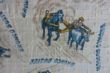 Vintage pair barkcloth cowboy western mid century cotton fabric curtains drapes!