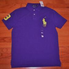 NWT Mens Polo Ralph Lauren Custom SLIM Fit Polo Shirt BIG PONY LOGO Purple *5F