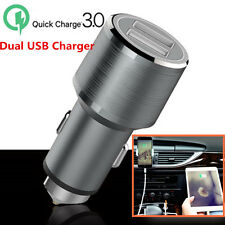 12V QC3.0 Quick Dual Ports USB Car Charger Metal Power Adapter For Smartphones