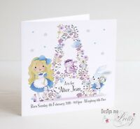 PERSONALISED ALICE IN WONDERLAND NEW BABY Card - Congratulations Birth A to Z
