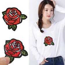 2pcs Red Rose Flower Embroidery Applique Cloth DIY Sewing/iron on Patch Badge