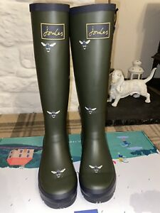 Joules Size 4 Green Tall Bee Print Wellies with Yellow Stripe - Gorgeous Wellies