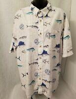 Columbia Mens Multi Color Fish Design Button Down Shirt Size XXL
