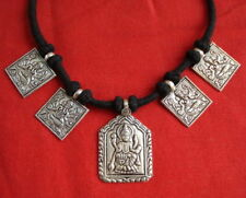 hindu god ganesh laxmi india traditional design silver pendant necklace