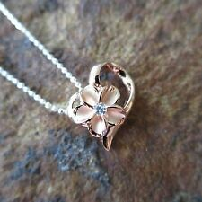 Pink Rose Gold Heart Plumeria Flower Hawaiian Silver Pendant Necklace #SP86929