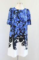 Ann Taylor Womens Blue Black White Ombre Floral Short Sleeve Shift Dress Size 8