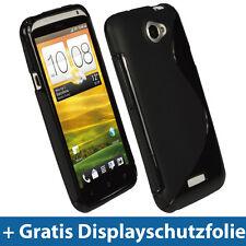 Schwarz Zweiton Gel TPU Tasche für HTC One X + Plus Android Gel TPU Hülle Eins 1