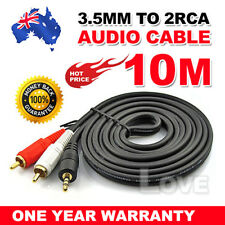 10M Stereo Audio 3.5mm Aux Jack to 2 RCA M/M Y Splitter Cable Gold Plated