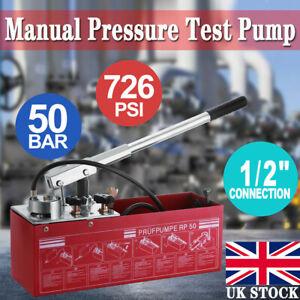 Manual Pressure Test Pump Hydraulics Oil Water Pipe System Tester Machine 12L UK