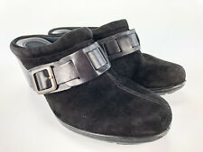 Clarks Womens Black Suede Clogs Size 7M Bendables Mules Heels Comfort Shoes