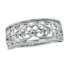 Diamond Accent Scroll Anniversary Band .925 Solid Sterling Silver Real Natural