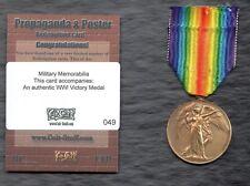 MILITARY PROPAGANDA & POSTER (Cult-Stuff) MEMORABILIA: WWI VICTORY MEDAL (REAL)