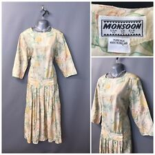 Vintage Monsoon Cream Floral Silk Dress UK 12 EUR 38 USA 10 Made in England