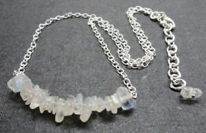"""Beaded Necklace Natural Gem Stone Rainbow Moonstone Beads Nuggets Bar 18"""" Long"""