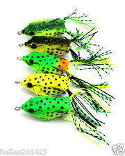 Lot 5pcs Color Large Soft Frog Lure Bass Fishing Hooks Bait Tackle Topwater