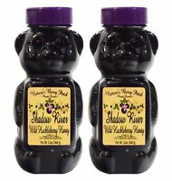 Shadow River Wild Huckleberry Gourmet Honey 12 oz Squeeze Bear - Pack of 2