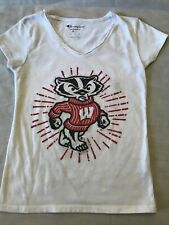 Wisconsin Badgers Girls Youth Size 6-7 T Shirt Sparkle University Of Wisconsin