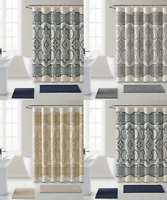 Beige//Gold VCNY/® Luxurious Daphne Embroidered Sheer /& Taffeta Fabric Shower Curtains by GoodGram/® Assorted Colors