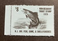 WTDstamps - 1979 NEW JERSEY - State Fish Trout Stamp - Mint OG NH *Non-Resident*