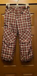 CHEROKEE Girl's Brown Plaid, pink, green Lined Snow Pants- Size Large (10/12)