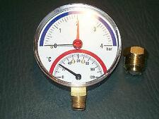 "Thermomanometer TM 80 radial (abajo) gehäusedurchmesser 80 mm, R 1/2"", 0-4 bar"