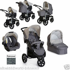 New Hauck Viper SLX Trio 3 wheeler pushchair Travel System Smoke/Grey+Raincover