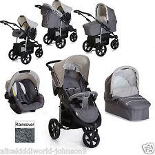 New Hauck Viper SLX Trio 3 wheeler pushchair Travel System Smoke/Grey+Raincover