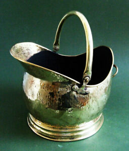 Vintage Fireplace Waterloo Brass Coal Hod, Coal Scuttle with Riven Bark Finish