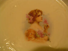 Antique Victorian Era Porcelain Trivet Art Nouveau beautiful Woman fleur-de-lis