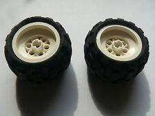 Lego 2 roues blanches set 8408 8032 8252 8230 / 2 white wheels w/ tires