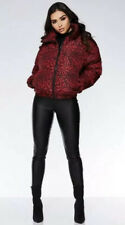 ❤️  Puffer Jacket Coat Red Padded Leopard Print Size 14 Winter Bnwt ❤️