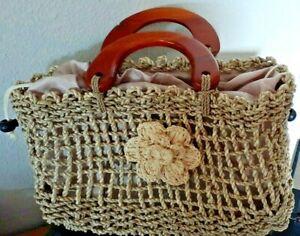 Woven Jute Handbag Wood Handles Drawstring Lined Flower Accent