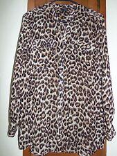 RAFAELLA STUDIO Long Sleeve Sheer Animal Print Button Front Blouse - Size S