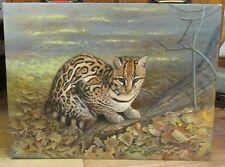 OCELOT CAT OIL/ACRYLIC PAINTING GORDON C.TURTON DWARF LEOPARD 1996