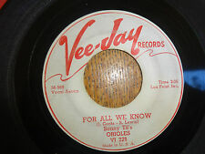 SONNY TIL'S ORIOLES-FOR ALL WE KNOW/NEVER LEAVE ME BABY-VEE JAY PROMO DOO WOP