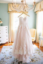 New White/Ivory/Pink Lace Bridal Gown Wedding Dress Custom Size 6 8 10 12 14 16+