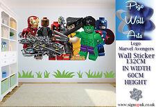 LEGO Wall Sticker Marvel Avengers Grandi per Bambini Camera Da Letto Murale Parete Decalcomania.
