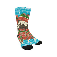 Custom Feet Warmer Socks Happy Pug in Santa Hat Knee High Socks for Unisex