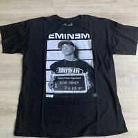 EMINEM Black Tshirt Mugshot Detroit Police Department Slim Shady Bravado Sz XL