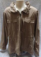 Hanes Signature Mens Size XL Khaki Beige Medium Weight Hooded Jacket Used