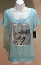 NWT STYLE&CO Women's Light Blue Short Sleeve Postcard Top Blouse Size: XS