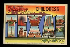 Large Letter postcard linen Childress, Texas TX, State Capitol, Oil Wells, Alamo